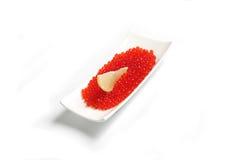 Rode kaviaar met citroen Stock Foto