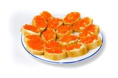 Rode kaviaar in tartlets. Royalty-vrije Stock Foto