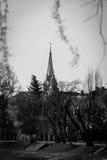 Rode kerk in Arad, Roemenië in zwart-wit royalty-vrije stock foto