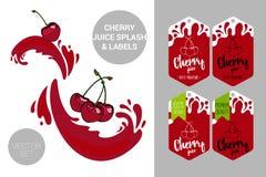 Rode kersen op sapplonsen Het organische fruit etiketteert markeringen vector illustratie