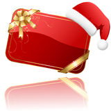 Rode Kerstkaart met de hoed van de Kerstman Stock Afbeeldingen