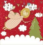 Rode Kerstkaart met Engel Royalty-vrije Stock Foto's