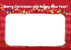 Rode Kerstmis en Nieuwjaren kader Royalty-vrije Stock Foto