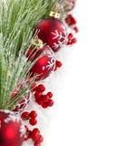 Rode Kerstmis siert grens Stock Foto