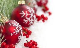 Rode Kerstmis siert grens Stock Afbeeldingen