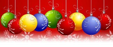 Rode Kerstmis siert Grens Stock Afbeelding