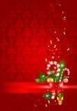Rode Kerstmisachtergrond met decoratie Royalty-vrije Stock Afbeeldingen
