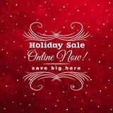Rode Kerstmisachtergrond met etiket voor verkoop, vect vector illustratie