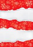 Rode Kerstmisachtergrond met gescheurd document Royalty-vrije Stock Afbeelding