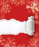 Rode Kerstmisachtergrond met gescheurd document Stock Foto's