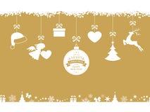 Rode Kerstmisachtergrond met het hangen van ornamenten en grens Stock Afbeeldingen