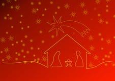 Rode Kerstmisachtergrond met voederbak en sterren Royalty-vrije Stock Afbeeldingen