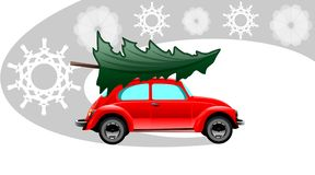 Rode Kerstmisauto vector illustratie