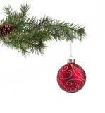 Rode Kerstmisbal Stock Afbeelding