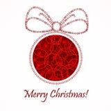 Rode Kerstmisbal De achtergrond van het nieuwjaar `s Stock Foto
