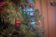 Rode Kerstmisbal op groene Kerstmisboom royalty-vrije stock afbeelding