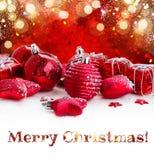 Rode Kerstmisballen Stock Afbeelding