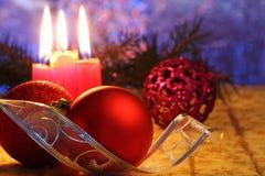 Rode Kerstmisballen Stock Fotografie