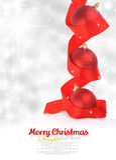 Rode Kerstmisballen met lint Stock Afbeeldingen