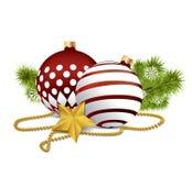 Rode Kerstmisballen op geïsoleerde achtergrond Royalty-vrije Stock Fotografie