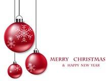Rode Kerstmisballen op witte achtergrond Stock Afbeelding