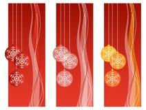 Rode Kerstmisbanners Stock Foto's