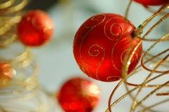 Rode Kerstmisbollen Stock Foto