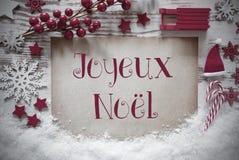 Rode Kerstmisdecoratie, Sneeuw, Joyeux Noel Means Merry Christmas royalty-vrije stock foto's