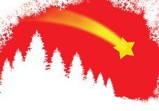 Rode Kerstmiskaart Stock Foto