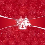 Rode Kerstmiskaart Royalty-vrije Stock Afbeeldingen
