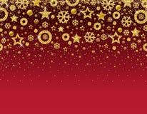 Rode Kerstmiskaart met kader van gouden schitterende sneeuwvlokken a stock illustratie