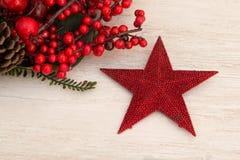Rode Kerstmisster en rode bessen Stock Foto's