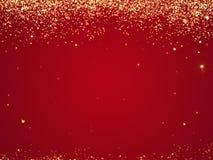 Rode Kerstmistextuur als achtergrond met sterren die hierboven vallen van
