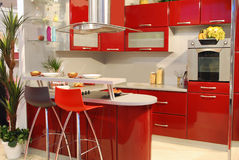 Rode keuken royalty-vrije stock afbeeldingen