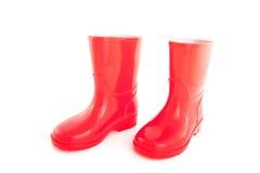Rode kinderen rainboots Royalty-vrije Stock Foto's