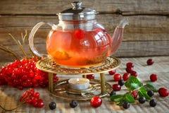 Rode kleurrijke thee De pot van de glasthee met hete smakelijke thee met citroen, h stock foto's