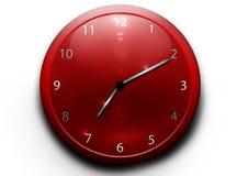 Rode klok op een witte achtergrond Royalty-vrije Stock Foto's