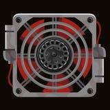 Rode koelsysteemventilator achter grijs metaaltraliewerk royalty-vrije illustratie