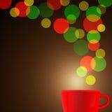 Rode koffiekop met kleurrijke bokehachtergrond Vectorillustrati Stock Foto's