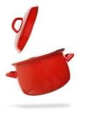 Rode kokende pot Stock Foto's