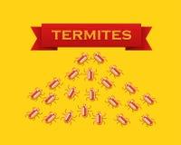 Rode kolonie van termieten Vector vlakke stijlillustratie Stock Afbeeldingen