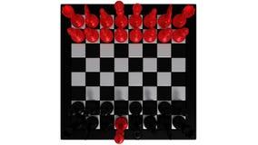 Rode koning voor zwarte stukken Stock Foto