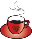 Rode kop en schotel met hete koffie Stock Foto's
