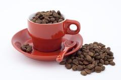 Rode kop met koffie Stock Foto's