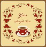Rode kop van koffie in het flral frame royalty-vrije illustratie