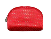 Rode kosmetische die zak, op witte achtergrond wordt geïsoleerd Stock Fotografie