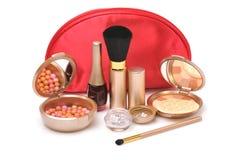 Rode kosmetische zak royalty-vrije stock foto's