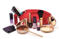 Rode kosmetische zak Stock Afbeelding