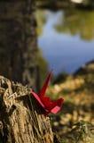 Rode kraan in het hout Royalty-vrije Stock Foto's