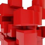 Rode Kubussen Stock Fotografie
